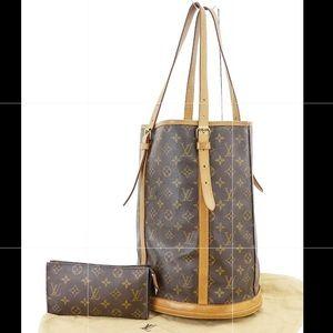 Authentic Louis Vuitton Bucket GM Wallet/Pouch Set